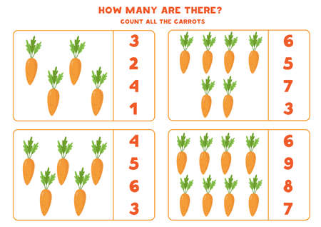 Count the amount of cute cartoon carrots.