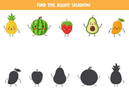 Find correct shadow of cute kawaii fruits. Stock Illustratie
