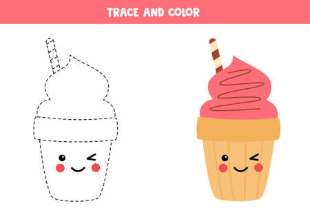 Tracing lines with cute cartoon ice cream cone. Ilustrace