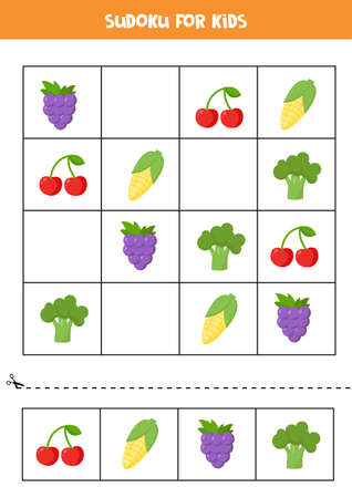 Sudoku with cute cartoon fruits and vegetables. 向量圖像