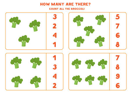 Count the amount of broccolis and circle right answer.