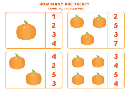 How many pumpkins are there. Count and circle right answer.