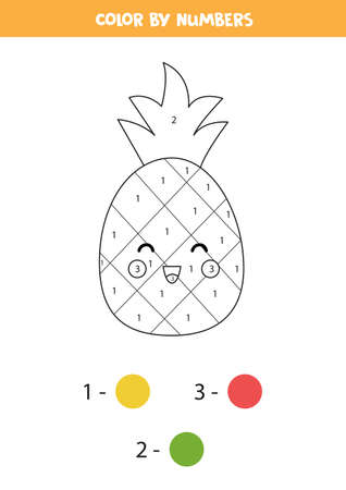 Color cute kawaii pineapple by numbers. Game for kids. Ilustração