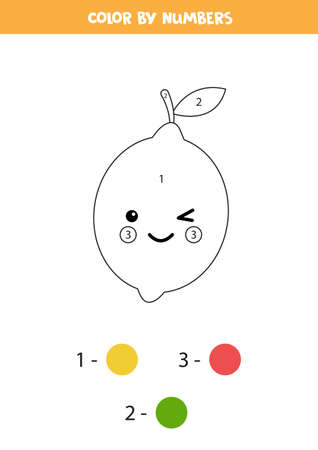 Coloring book with cute kawaii lemon. Color by numbers. Ilustração