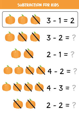 Subtraction with cartoon vector pumpkin. Educational math game. Ilustração
