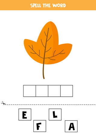 Spell the word leaf. English grammar game for kids. 일러스트