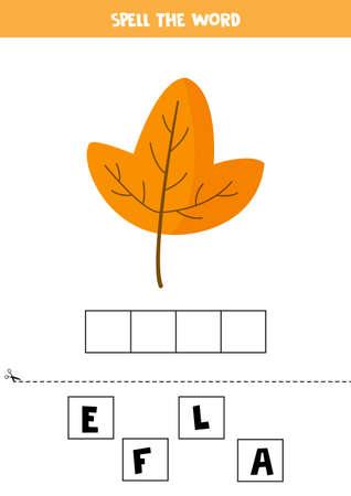 Spell the word leaf. English grammar game for kids. Ilustração