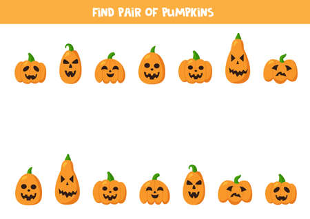 Find pairs to cute Halloween pumpkins. Game for kids.