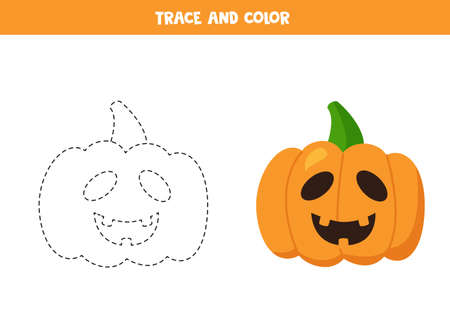 Trace and color cartoon Halloween pumpkins. Handwriting practice.