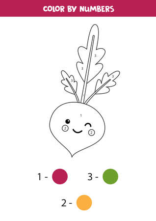 Coloring page by numbers with cute kawaii beetroot.