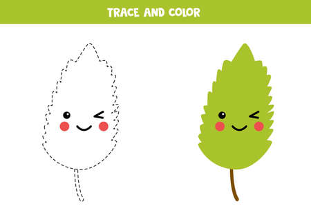 Trace and color kawaii smiling green leaf.