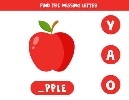Find missing letter and write it down. Cute cartoon red apple.