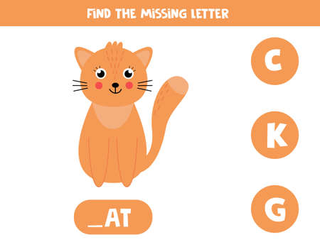 Find missing letter and write it down. Cute cartoon cat.
