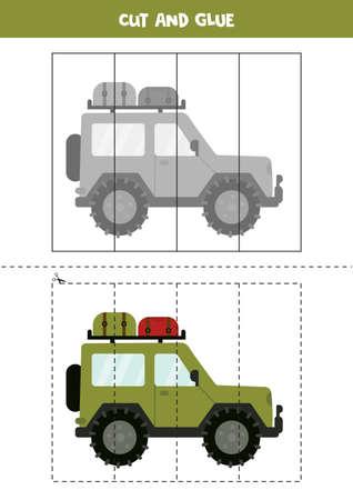 Cut and glue game for kids. Cartoon safari car.