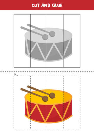 Cut and glue game for kids. Cartoon drum.