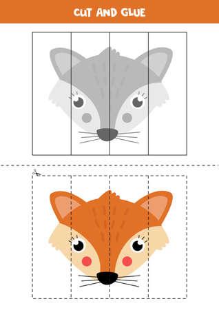 Cut cute carton fox and glue it. Vecteurs