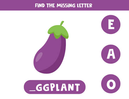 Find missing letter and write it down. Cute cartoon eggplant. 일러스트
