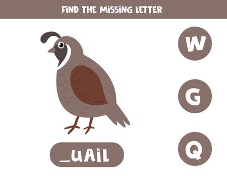 Find missing letter and write it down. Cute cartoon quail. Ilustração