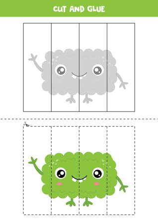Cut and glue game for kids. Cute cartoon green monster. Иллюстрация