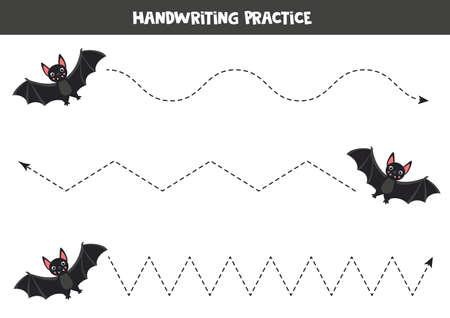 Tracing lines with black vampire bat. Writing skills worksheet. Illustration