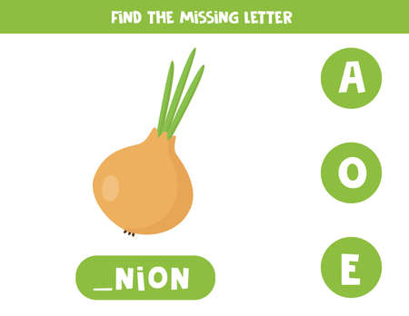 Find missing letter and write it down. Cute onion.