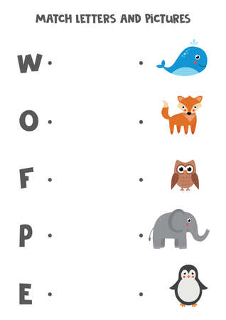 Matching game for kids. Find picture and letter it starts with.