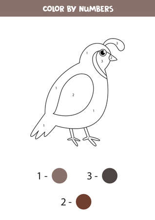 Coloring cute cartoon quail by numbers. Math game.