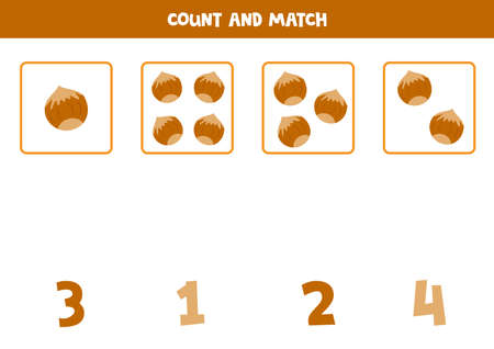 Counting game with cartoon nuts. Educational math game for kids. 向量圖像