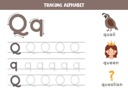 Handwriting practice with alphabet letter. Tracing Q.