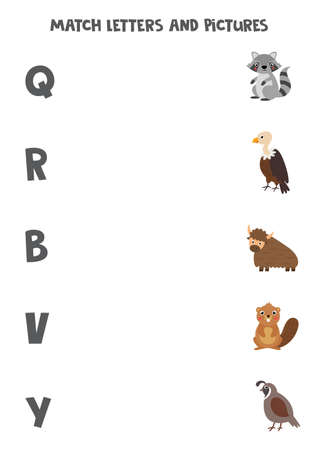 Match different animals with alphabet letters. Educational game.
