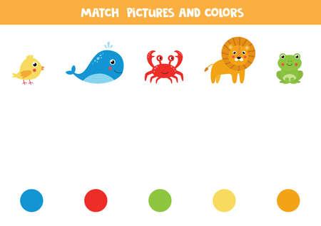 Match animals and colors. Logical worksheet. Иллюстрация