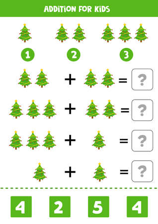 Addition for kids with Christmas fir trees.
