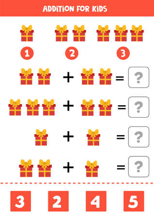 Educational math game for kids. Addition with gift boxes. 向量圖像