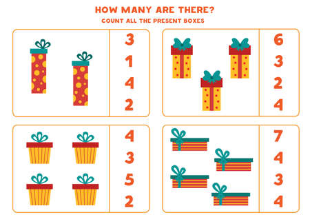 Counting game for kids. Count all Christmas gift boxes.