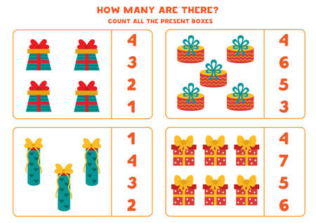 Counting game with present boxes. Math worksheet.