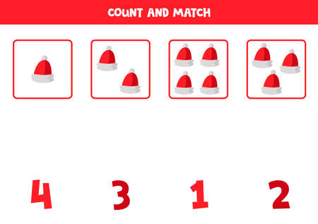 Counting worksheet with cartoon red Santa Claus caps.