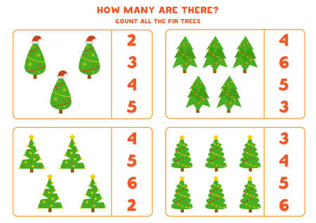 Count all Christmas trees. Math game for preschool children. 向量圖像