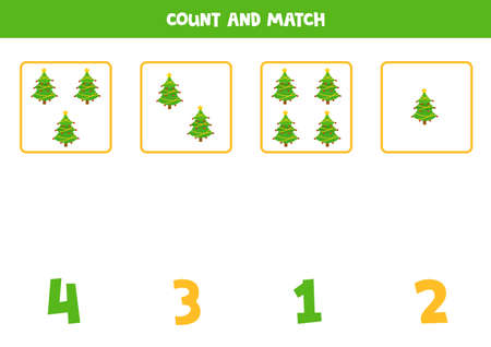 Counting worksheet with cartoon fir trees.