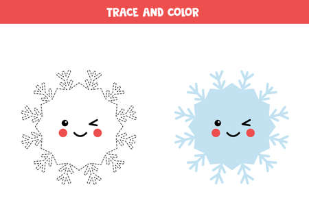 Trace and color cute kawaii snowflake. Handwriting practice for kids.
