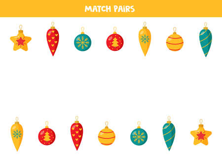 Match pairs of Christmas balls. Educational logical game for kids.