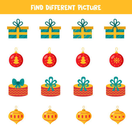 Find different Christmas ball and present in each group. Educational logical game for kids.
