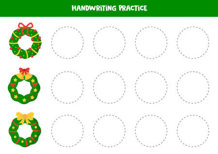 Tracing circles with cute Christmas wreaths. Handwriting practice for preschoolers.