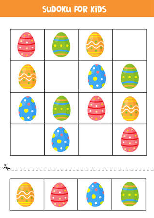 Sudoku game with colorful Easter eggs. Educational logical game for kids.