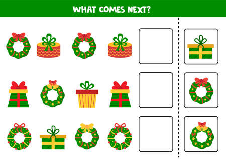 What comes next game with Christmas wreaths and presents. Logical worksheet.
