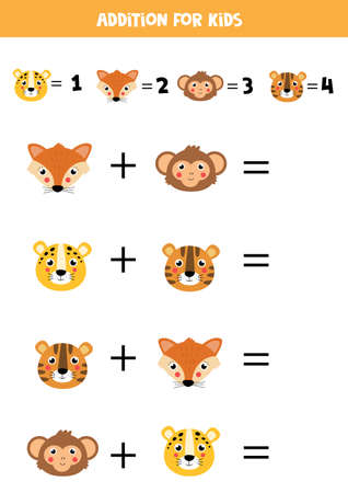 Addition with different animal faces. Educational math game for kids.