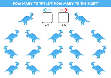Left or right with cute dinosaur. Logical worksheet for preschoolers.