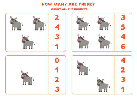 Counting game with farm donkeys. Math worksheet.
