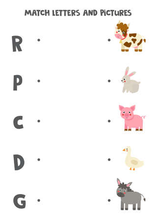 Match farm animals and beginning sounds. Game for kids.