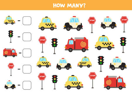 Math game. Count all vehicles. Transportation themed games.