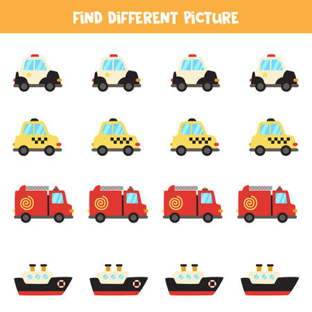 Find transport which is different from others. Transport themed worksheet. Illustration